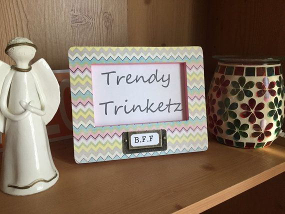 Chevron Picture Frame with Interchangable B.F.F by TrendyTrinketz