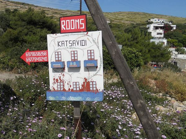Wonderful hand painted rooms for rent sign on the tiny Greek islet of Arki, near Patmos island, Greece