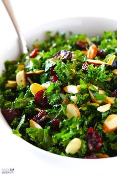 Kale Salad with Warm Cranberry Vinaigrette -- super good, super good-for-you, and ready in just 10 minutes! | gimmesomeoven.com #vegan #salad #recipe