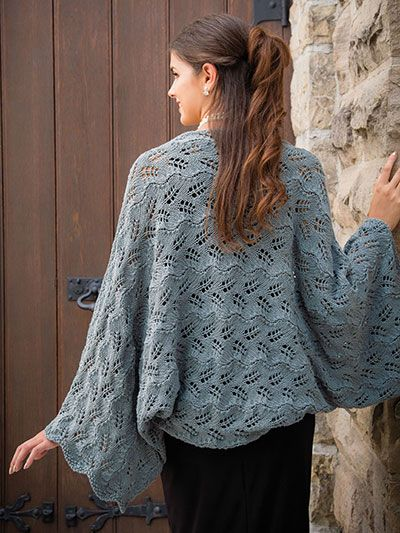 """This simple lacy shrug makes a great layering piece for spring. Knit with 5 (6, 6, 7, 7) hanks of #4 worsted-weight Berroco Weekend yarn using U.S. size 9/5.5mm 24"""" circular and straight needles and size I/9/5.5mm crochet hook. Finished measurem..."""