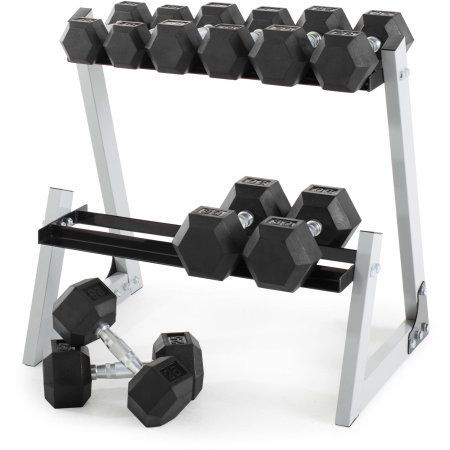 Weider 200 lb Rubber Hex Dumbbell Weight Set, 10-30 lb with Rack Box - Walmart.com