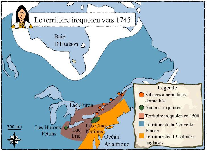 Le territoire iroquoien vers 1745