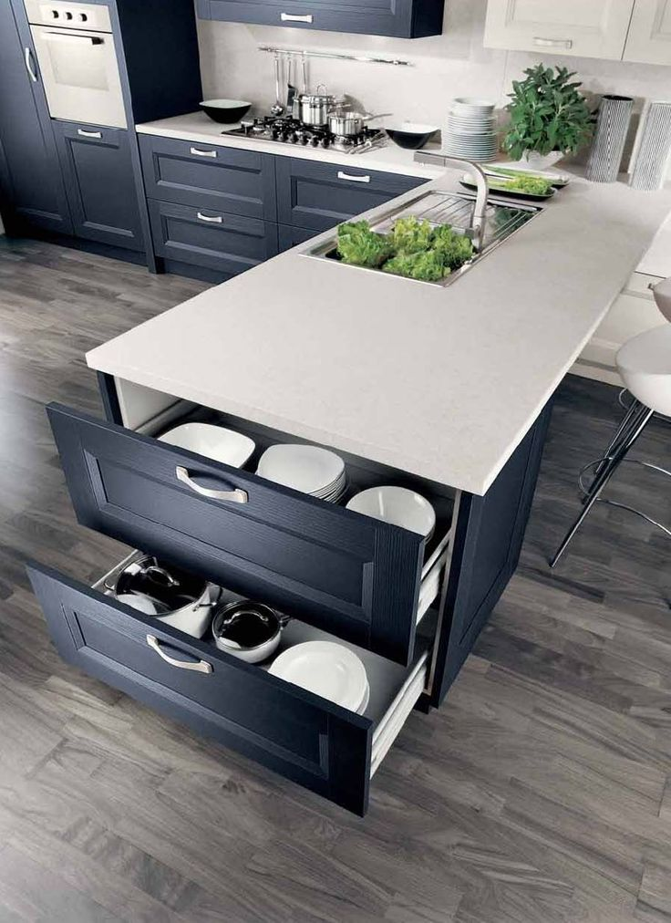 Big pan draws at end of extended U.  Still place for some bar stools.  Also white worktop and dark cabinets work really well.  Also note the white wall units.