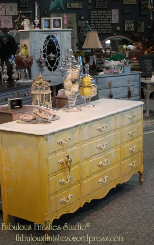ombre yellow painted chalk clay finish, american paint company, caromal colours top, embellished with stenciling,swarovski crystals, gold le...