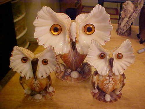 Vintage Handmade Seashell Owl Family of 3