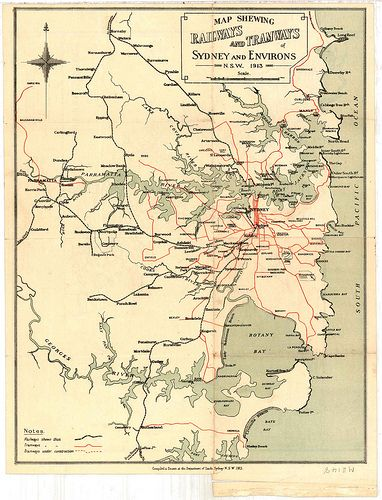 M2148 Railways and Tramways Map of Sydney and Environs, NSW, 1913.