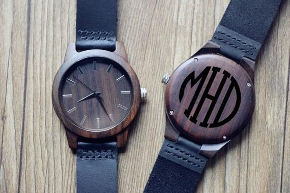 Engraved Groomsmen Wooden Watches, Engraved Black Sandalwood Watch, Wooden Watch Men, Anniversary Gi