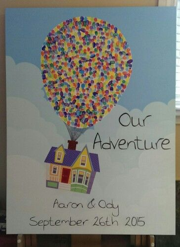 """UP"" inspired thumbprint guest book for weddings, birthdays, or any special event. By Ody"