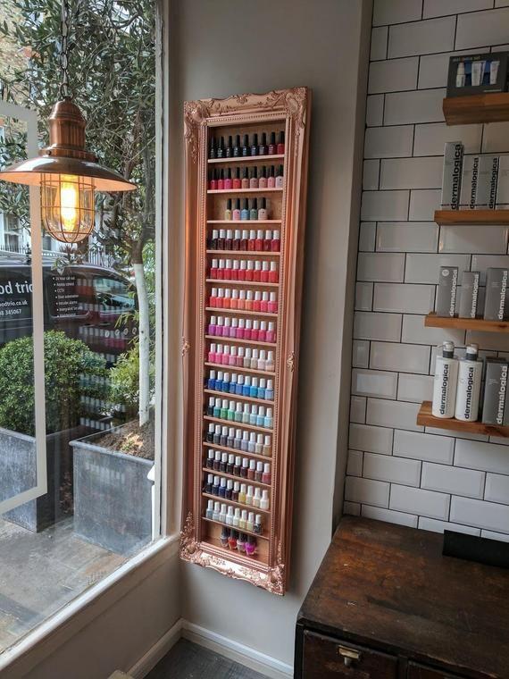 Nail polish rack display frame rose gold/metallic copper space saving idea...