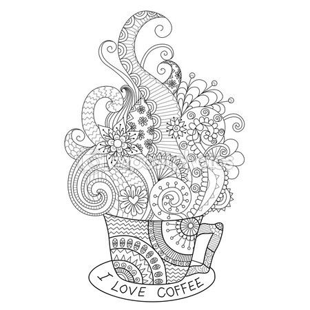 Una taza de diseño de zentangle café caliente para colorear libro para adulto — Vector de stock