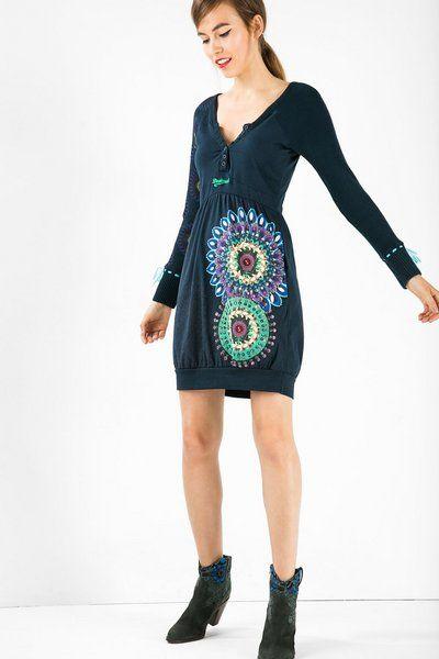 Vestido azul con falda globo Desigual. Descubre la moda de mujer con más actitud!