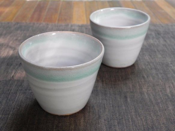 そば猪口(ブルー×ホワイト)|お椀・ボウル・鉢|土和窯(つちわがま)|ハンドメイド通販・販売のCreema