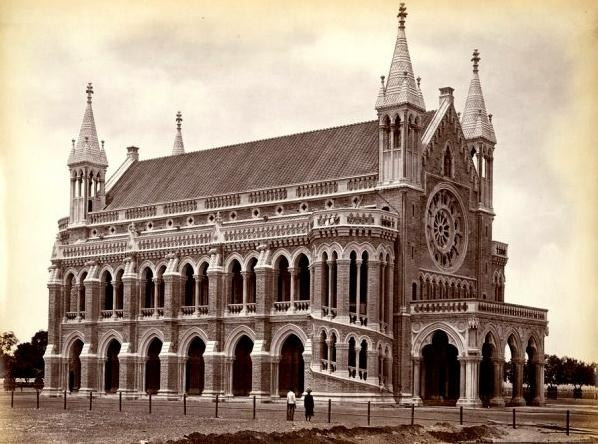 An 1870-CE photograph of the University of Bombay (the now University of Mumbai since 1996) located at the Fort area in South of Mumbai-Maharashtra.
