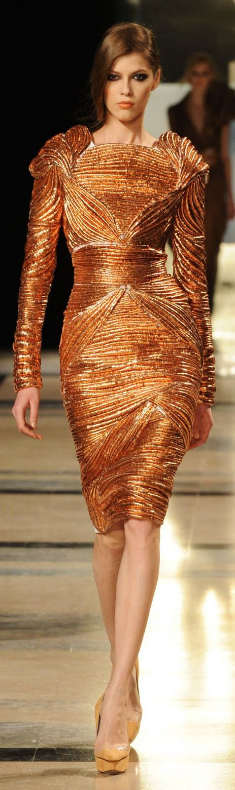 Stephane Rolland S/S 2011little different neckline, maybe rounded off a little.The color and the way the fabic has been gathered. Beautiful lines.