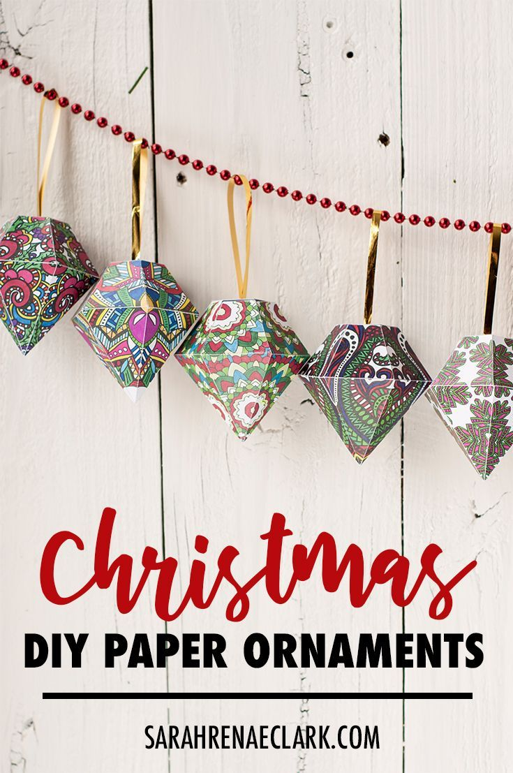 Color and make your own Christmas tree ornaments with this set of 10 coloring templates! Find more Christmas printables and coloring pages at www.sarahrenaeclark.com #christmas #diychristmas #ornaments