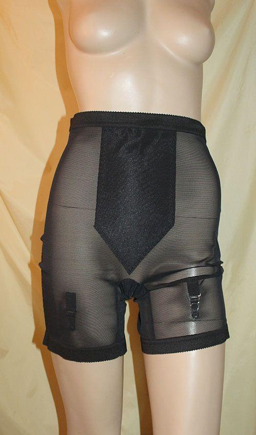 Miederhose VINTAGE Style Gr. 38 - 40 Made in USA*** mit Strapse // NEU halbtrans