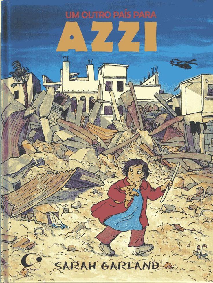 """A partir do olhar da menina Azzi, este livro retrata uma família do Oriente Médio, que se vê obrigada a fugir quando a guerra começa a afetar sua rotina. """"Às vezes, o barulho das metralhadoras nos helicópteros era tão alto que as galinhas ficavam assustadas e paravam de botar ovos"""", conta a protagonista, nessa narrativa ricamente ilustrada, revelando sua perspectiva da aproximação do conflito."""