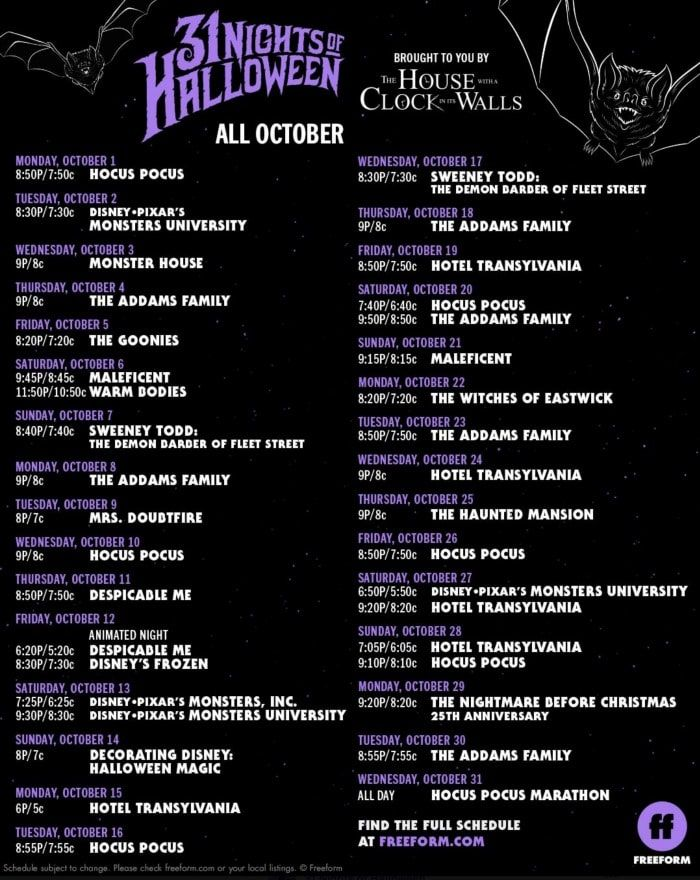 Halloween Schedule 2020 Free Halloween TV Movie Schedule for 2020 | 31 nights of halloween