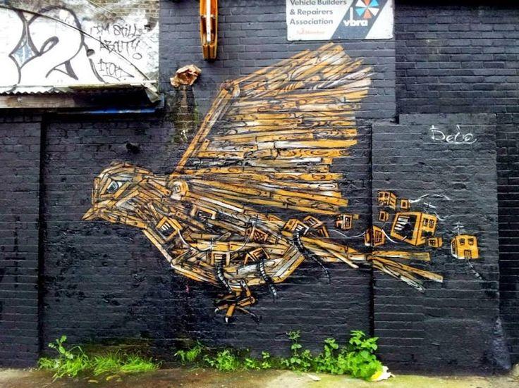 Street art in London, UK, by artist Dede. http://restreet.altervista.org/la-tecnica-esplosiva-di-vhils/