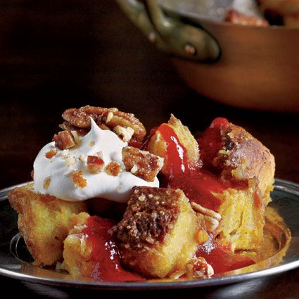 Pumpkin Bread Pudding with Maple Whipped Cream, Cranberry Caramel ...