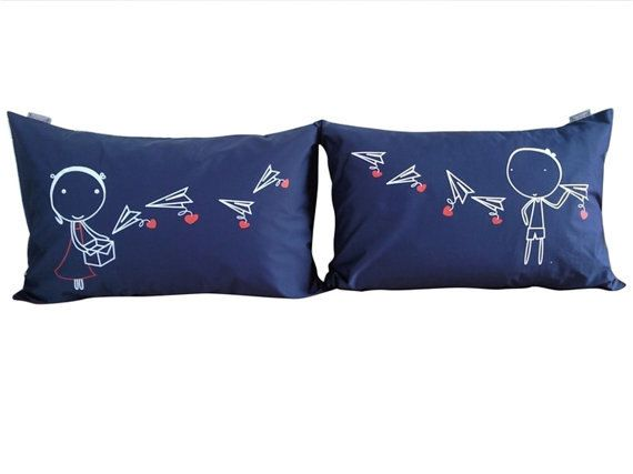 Couple Pillow Cases Paper Plane set   for his & her by UsagiMijo, $29.00