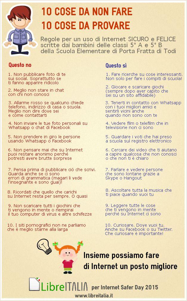 In occasione del Safer Internet Day i bambini delle quinte elementari della scuola di Portafratta hanno scritto i consigli di utilizzo della Rete