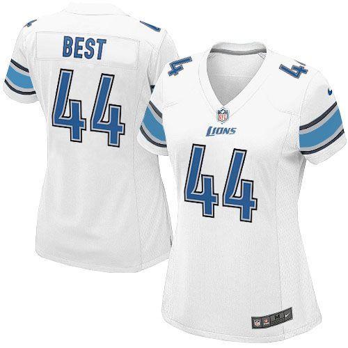 Women Nike Detroit Lions #44 Jahvid Best Limited White NFL Jersey Sale
