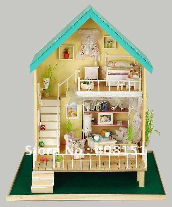 New Doll House Toy Miniature Wooden Doll House Loft With: Free Shipping Dollhouse Miniature