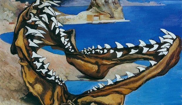 202. Mascelle di squalo in un paesaggio - 1974