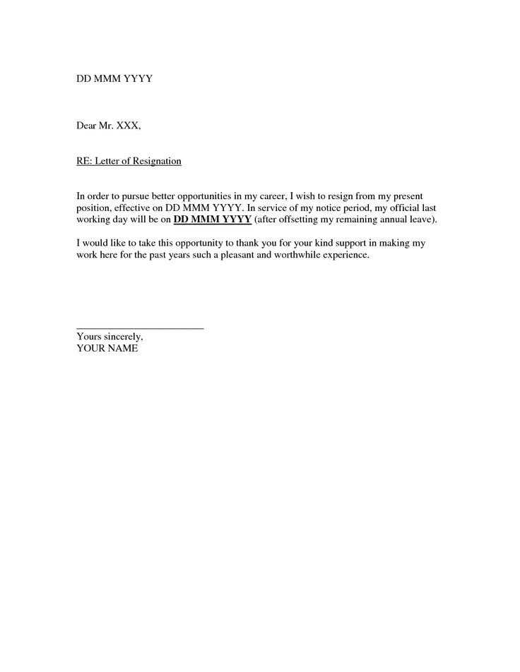 Oltre 25 fantastiche idee su Formal resignation letter sample su – Sample Resignation Letters with Notice Period