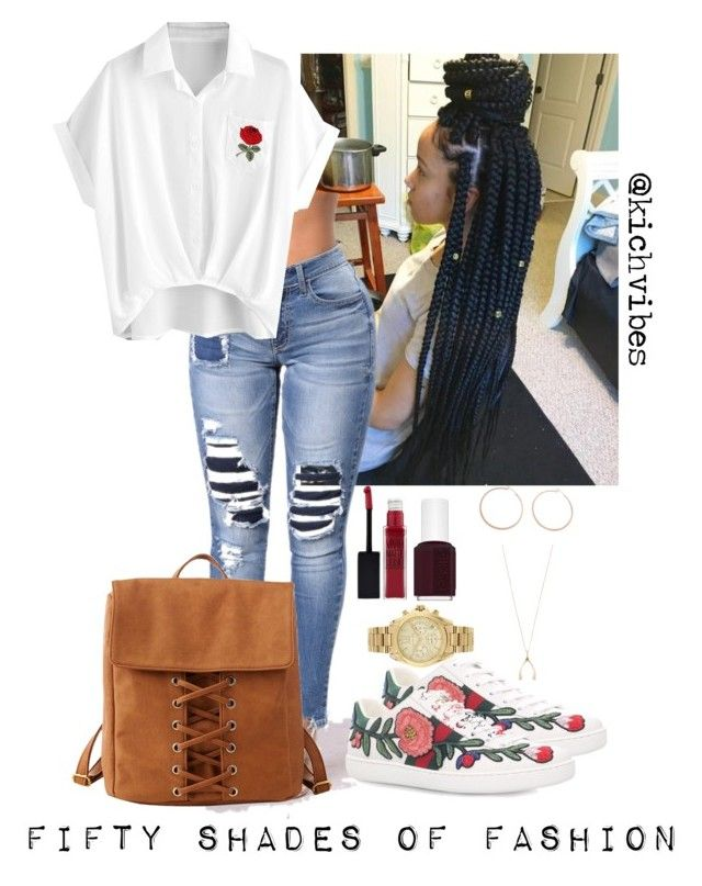 """""""Untitled #51"""" by naturalkhaos on Polyvore featuring Gucci, Maybelline, Essie, Charlotte Russe, Jennifer Zeuner, Jennifer Meyer Jewelry and Michael Kors"""