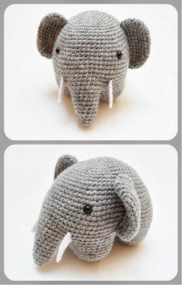 """Elefante Amigurumi - Patrón Gratis en Español para Descargar en PDF ( click """"Elefante.PDF"""" en letras azules) http://amigurumies.blogspot.fr/2013/06/elefante.html English Pattern here: http://www.allaboutami.com/post/83740593154/elephantpattern"""