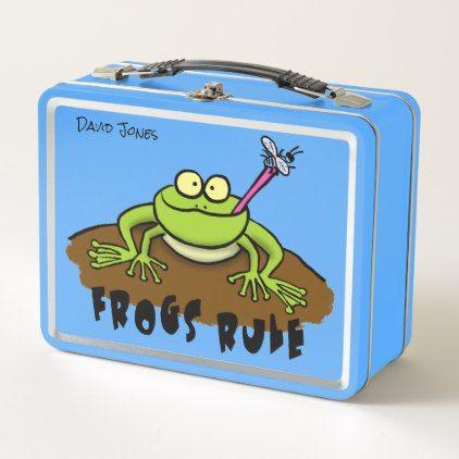 Cool cartoon frog design. metal lunch box - cool gift idea unique present special diy