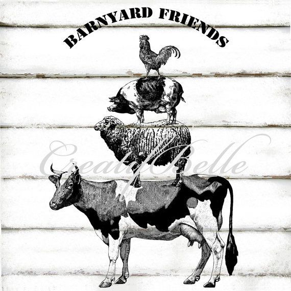 Vintage Farm Animal Stack Large Black Logo De Granja Granja De Epoca Ilustracion Vintage