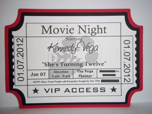 movie ticket invitation movie theme party products i create
