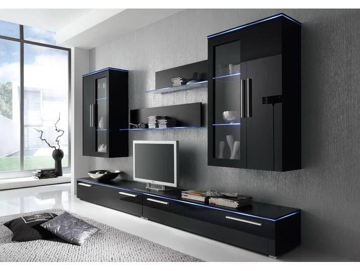 6tlg Anbauwand Hangevitrine Hochglanz Products Schwarz Tvelement Anbauwand 6 Tlg Hochglanz Schwarz 2 X In 2020 Tv Unit Decor Modern Tv Units Tv Unit Furniture
