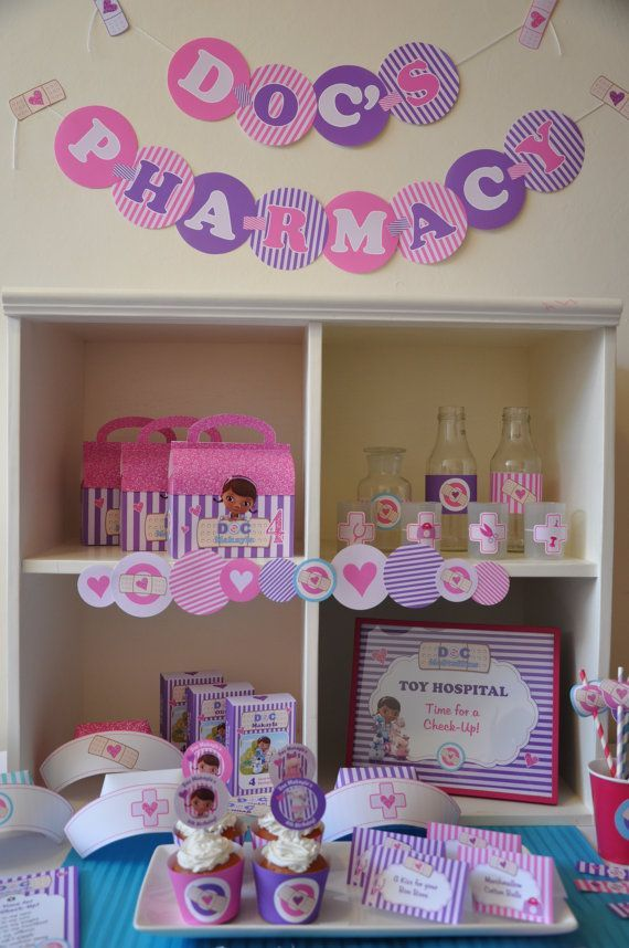 The Doc is IN!! Doc McStuffins PDF printable personalized party package, packed full of fun decoration and play ideas for your Doc party!