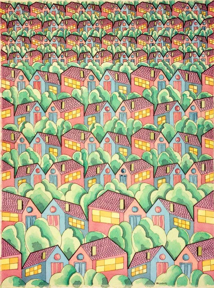 #regolo54 #tessellation #tiling #wallpaper #geometry #symmetry #pattern #watercolor #aquarelle #elephant #handmade #mauritiuscorneliusescher #Escher #dimensions