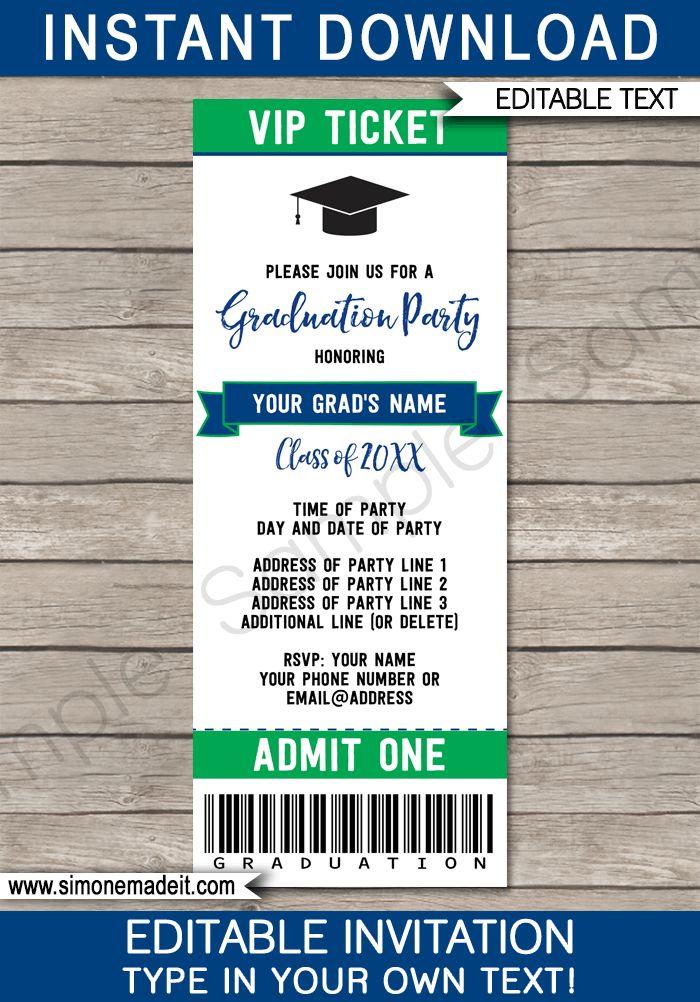 Printable Graduation Party Ticket Invitations - High School Graduation Announcements - Grad Party Ticket Invites - Editable Template - Instant Download - Navy Blue & Green #graduationparty #graduation #graduationticket
