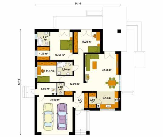 Projekt domu Ariel 6 - rzut parteru