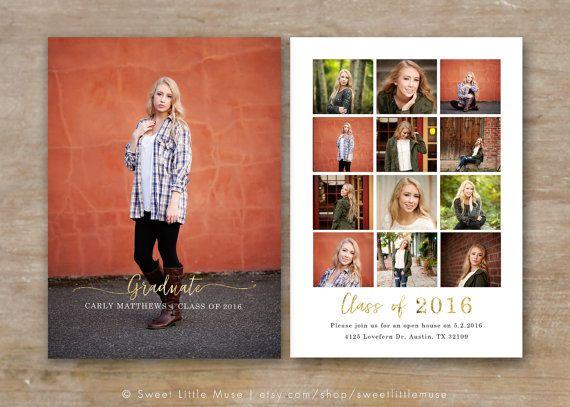 Senior Graduation Announcement - Gold Foil Senior Card Template - Photoshop Template for Photographers - Gold 5x7