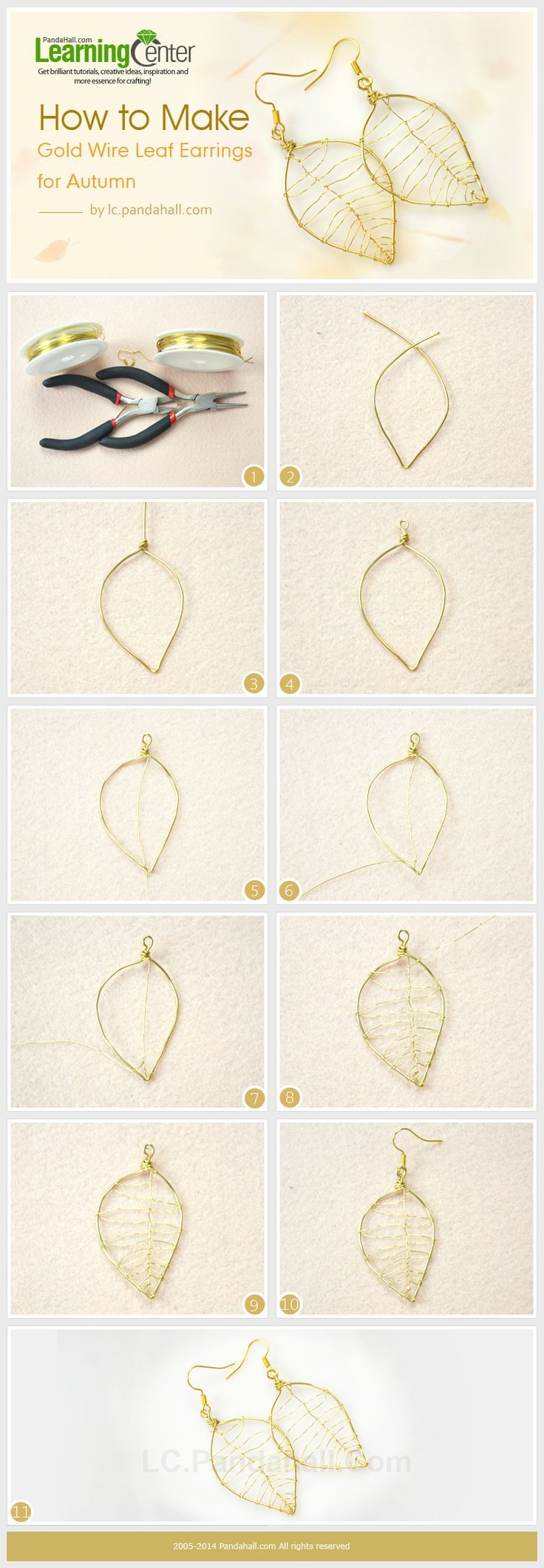 How to Make Gold Wire Leaf Earrings for Autumn #Wire #Jewelry #Tutorials...
