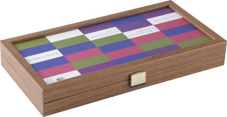 """Know Thyself ?- The Psychology of Color Backgammon.  Backgammon is one of the oldest board games known, which involves a combination of strategy and luck (from rolling dice).  SOPHIA's Know Thyself ?- The Psychology of Color Backgammon comes in two sizes- medium size for endless enjoyment aτ home and a travel size for the on-the-go lifestyle of many.   Socrates' quote """"Know Thyself"""" in a colorful design motivates us to converse with our fellow players and triggers a dialogue about the mean"""