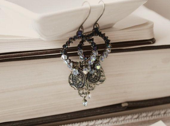 Messing & Swarovski schwarz Schmetterling Ohrringe