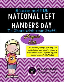 "Left-handers, today is your day! This holiday brings awareness to living in a right-handed world. Righties try your hand at being a leftie today!INCLUDED IN THIS FILE: (10 pages)*Instructions to the Activity Leader*1-page ""National Left Handers Day"" fact sheet*1-page ""Lefties"" that explains about ""lefties"" in a right-handed world*4-pages ""Bug Toss"" game- (using your left hand only of course)*Display page to advertise the day*Cover and credits page***CHECK OUT THE OTHER BIZARRE AND FUN…"
