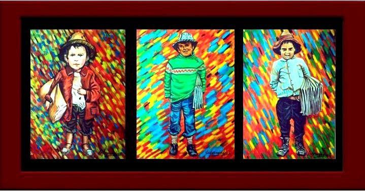 tres cuadros al oleo sobre lienza es una misma tematica