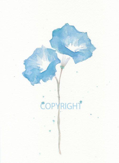 Fine art watercolor painting, flower art,  BLUE MORNING GLORY watercolor art print, giclee print, flower interest 8x10 via Etsy