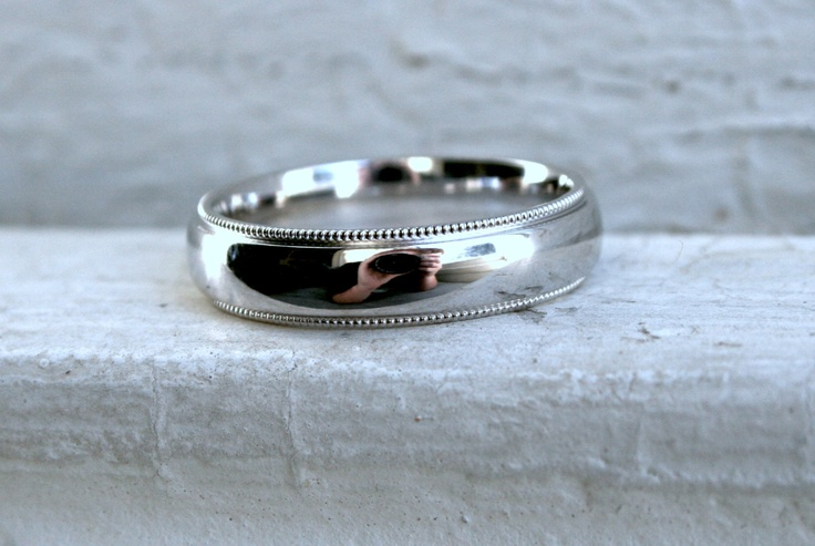 Classic Men's Vintage 14K White Gold  Beaded Edge Wedding Band.. $595.00, via Etsy.