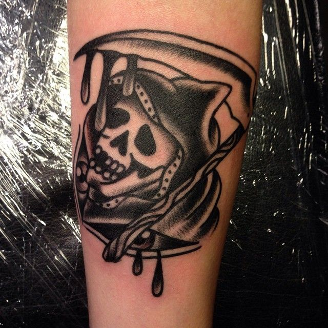 Oldschool tattoo death by tattoo artist William Roos of StockholmInk Stockholm, Sweden