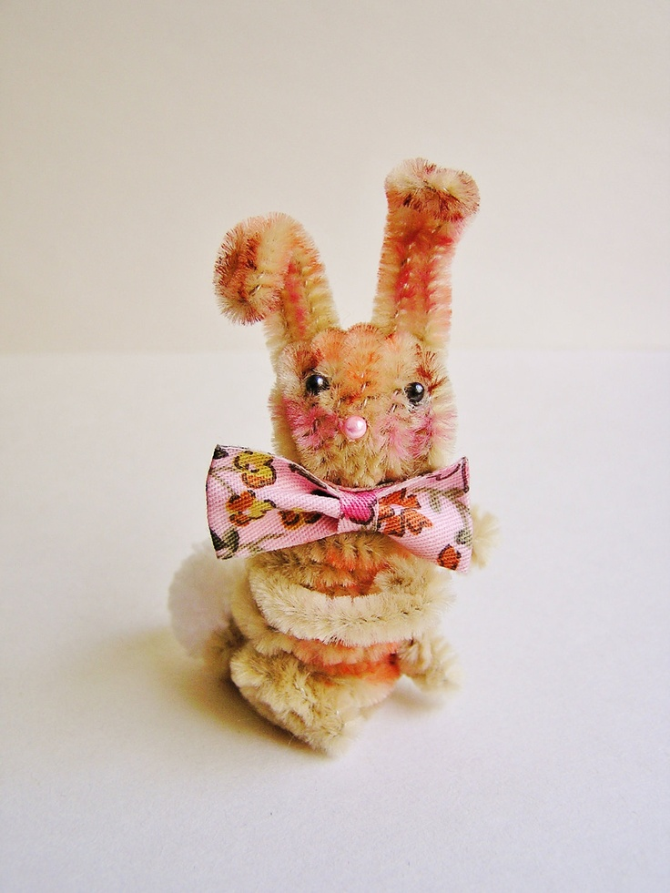 Cecil the Bunny -- vintage style chenille handmade wired miniature animal - ooak, ornament, gift, topper, petite decor. $11.99, via Etsy.